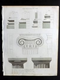 Rees 1820 Antique Print. Architecture 01 Columns